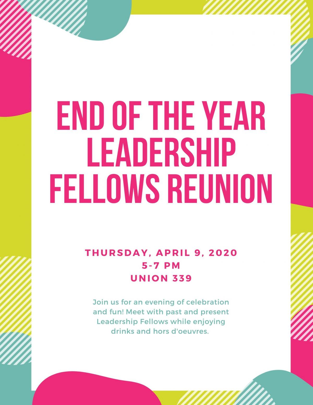 Join us for an evening of celebration and fun! Meet with past and present Leadership Fellows while enjoying drinks and hors d'oeuvres.
