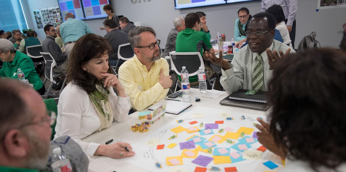 A group of 70 gathered at UNT Frisco to participate in a workshop to imagine what can come next.