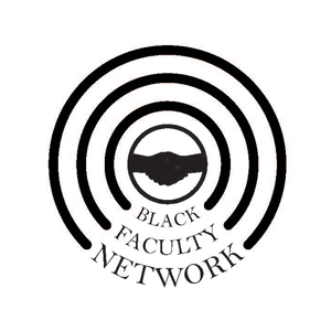 Black and white image of the Black Faculty Network: circles with a handshake in the center