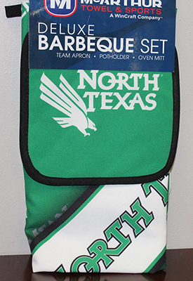 Photo of May give-away prize: a UNT themed barbecue apron, potholder and oven mitt
