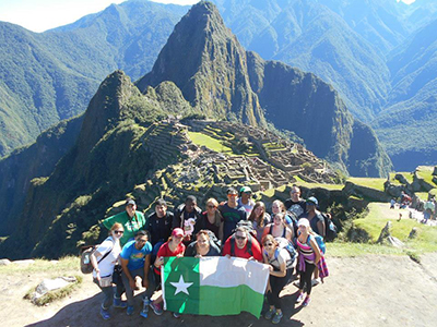 UNT Study Abroad group in Peru with Macchu Pichu in the background