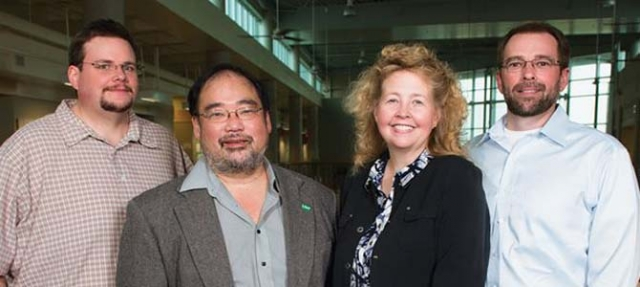 Photograph of four faculty members Michael Greig, John Ishiyama, Angela Wilson, Robby Petros and